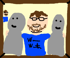 family photo with 2 grey men and wheezywaiter