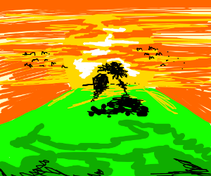 small house on a hill by a tree with a big sun