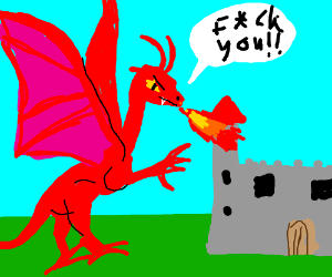 Angry red dragon.