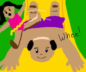 Ran over a kid on a slip'n'slide