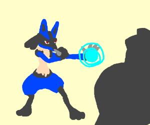 Lucario against a mystery Pokemon