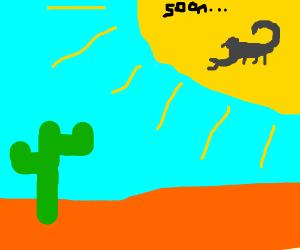 In the hot desert sun, a scorpion waits...