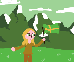 Girl holds Swedish flag in the mountains