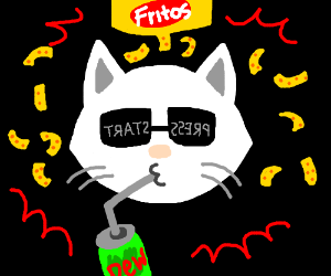 intense gamer cat likes Fritos and Mtn. Dew