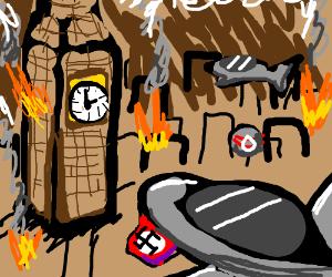 German air raid over London during the War