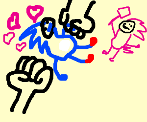 2 fists about to crush sonic who is in love