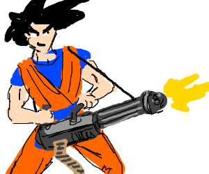 Goku gets gatling gun