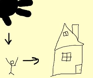 throw a black star on a transparent house