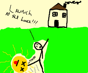 man directs dead sun to launch itself at house