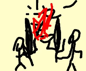 men doing an epic sword battle