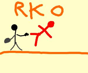 Black stick figure knocks out red man - RKO!