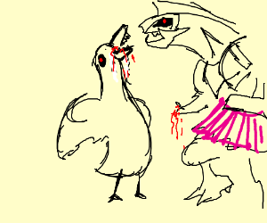 Draw a Rabid Duck eating Palkia in a Tutu