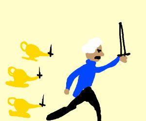 George washington leading lamps into battle