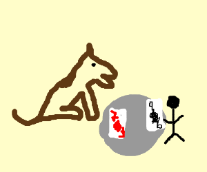 dog playing cards with little stickman