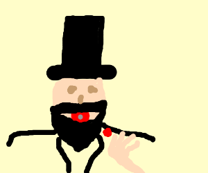 Abraham Lincoln with lipstick blowing a kiss