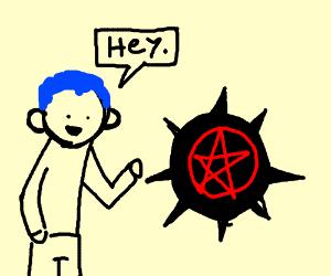 Guy says hey to satanic ball
