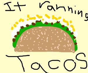Headless woman carries a taco