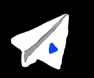 Paper Airplane with blue triangle on wing