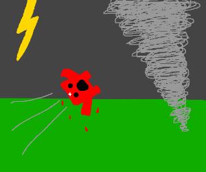 Super Meat Boy gets sucked into tornado