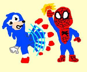 sonic vs spider man streetfighter style drawing by brandon pettit