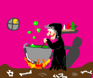 Happy witch stirs in kettle