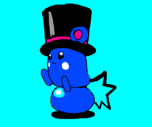 Azuril (Pokemon) in a dapper top hat