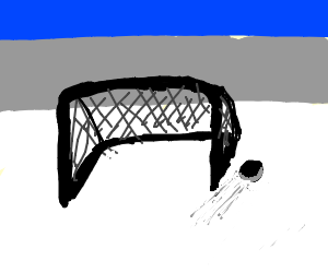 Puck barely missing an empty net