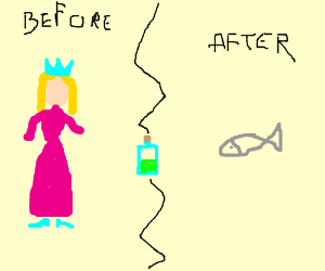magic potion turned princess into fish