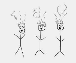 3 HOT (fire) headed stick people!