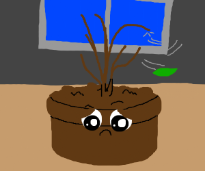A sad plantpot has no leaves on its stick