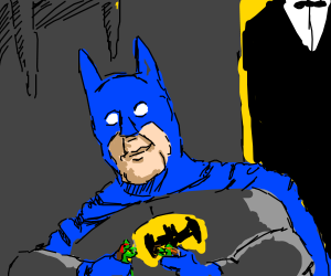 Batman loves Ninja Turtle action figures.