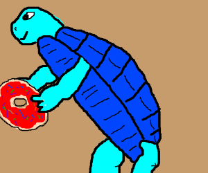 Blue turtle eats donut