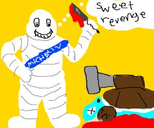The Michelin Man kills Blastoise.