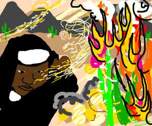 Black nun walking through a flaming sandstorm