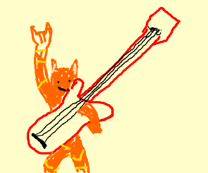 Cat plays Electric Guitar