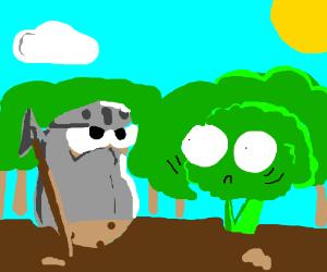 Potato knight intimidates broccoli