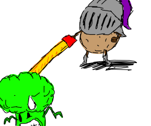 Brocolli is afraid of Potato Knight