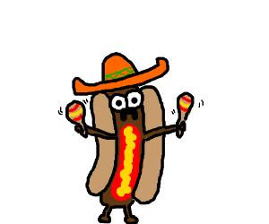Mexican hot-dog shakes it's maracas!