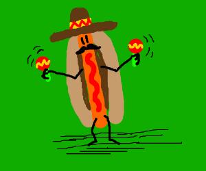 Mexican Hot dog shakes its maracas