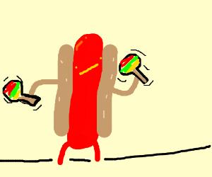 hot dog likes to shake maracas