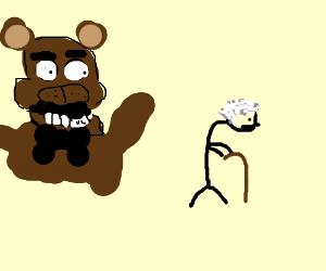 Freddy from FNAF stalks an old man