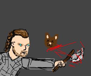 Viking Ragnar Lothbrok fights kitten horde