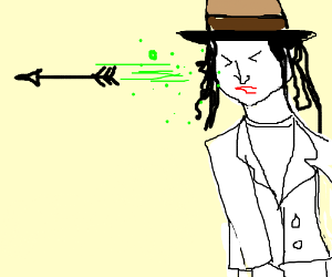 Ghost michael jackson sneezes out an arrow