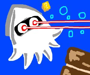 ghost blooper (squid) shoots eye lasers late