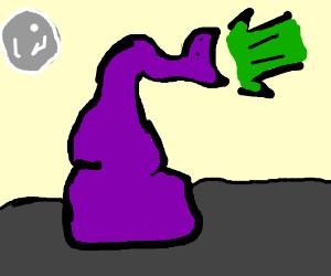 large purple snake projectile vomits