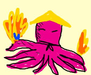 asian ninja octopuss is set on fire