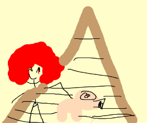 Red Afro man by a pyramid with his pet pig