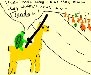 turtle rides a llama into battle