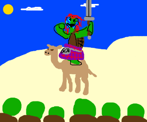 Braveheart-Turtle inspires troops on camelback