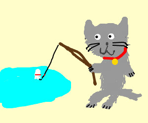 Cat goes fishing for Fish cat game